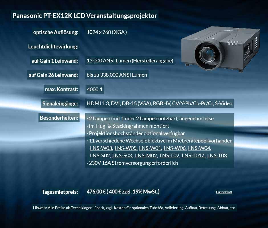 Mietangebot XGA Veranstaltungsprojektor mit 13.000 ANSI Lumen für 400 € zzgl. MwSt. inkl. Wechselobjektiv zur Auswahl LNS-W03, LNS-W05, LNS-W01, LNS-W06, LNS-W04, LNS-S02, LNS-S03, LNS-M01, LNS-M02, LNS-T02, LNS-T01