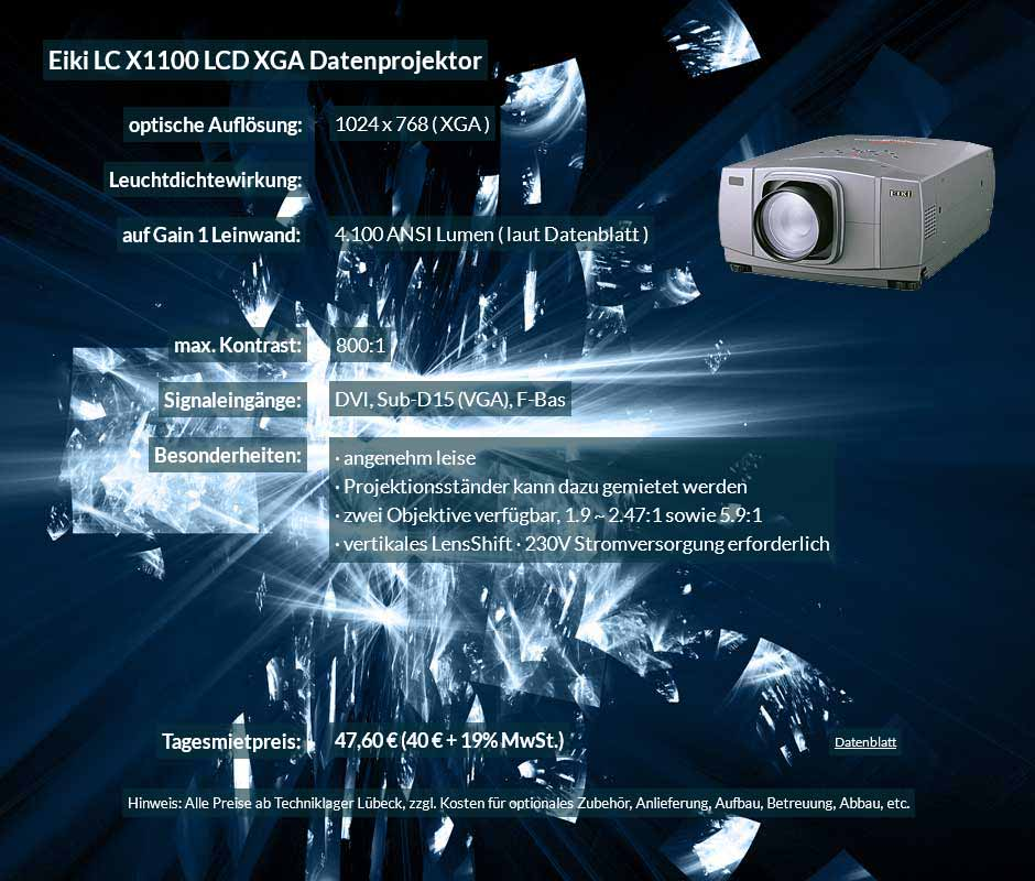 Datenprojektor Mietofferte für Eiki X1100 LCD XGA Datenprojektor zu einem Mietpreis je Tag von 40 Euro + Mehrwertsteuer
