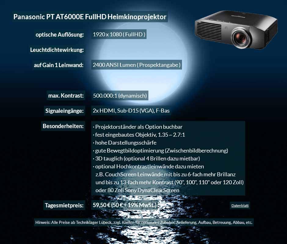 Mietangebot für Panasonic PT AT6000E Heimkinoprojektor zum Tagesmietpreis von 70 Euro + Mehrwertsteuer