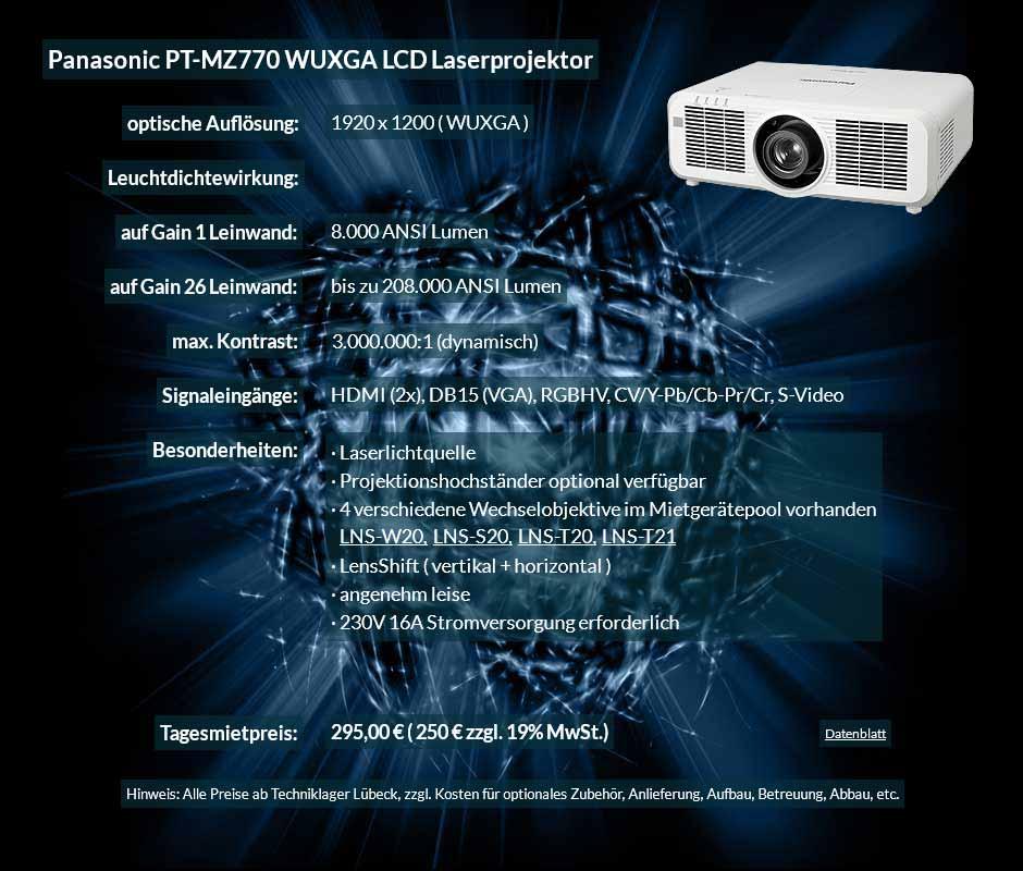 Mietofferte Panasonic PT MZ770