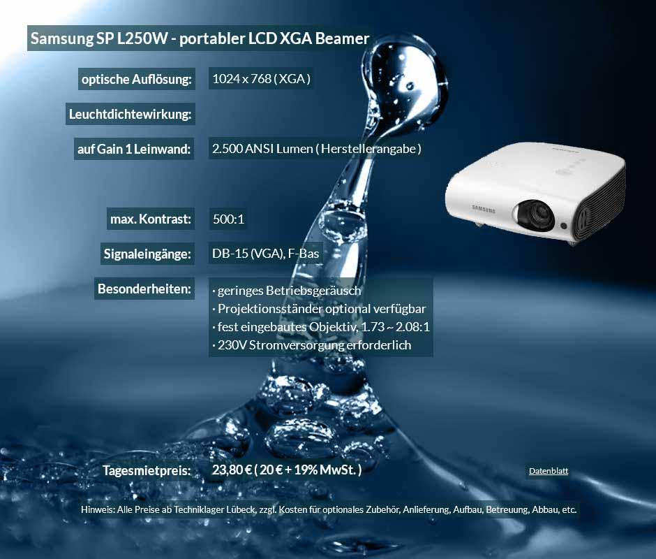 Mietinserat für DV Projektor Samsung SP L250W zu einem Mietpreis je Tag von 20 Euro + Mwsteuer