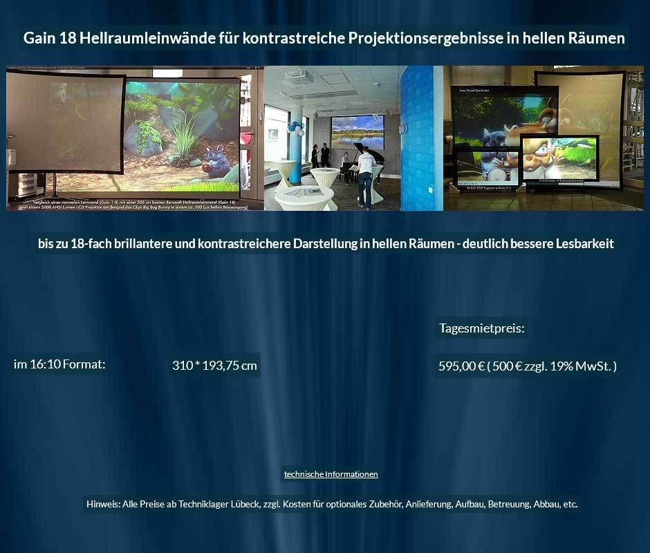 Leinwandmietangebot für 310 cm breite Gain 18 Hellraumleinwand im 16:10 Format ab 500 € + MwSteuer
