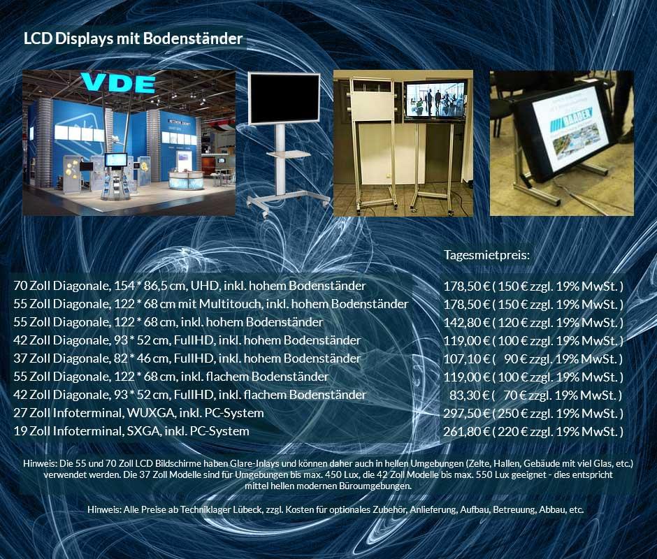Vermietungsofferte für LCD Display Vermietung mit Bodenständern, verschiedene Größen zu Tagesmietpreisen ab 70 € netto
