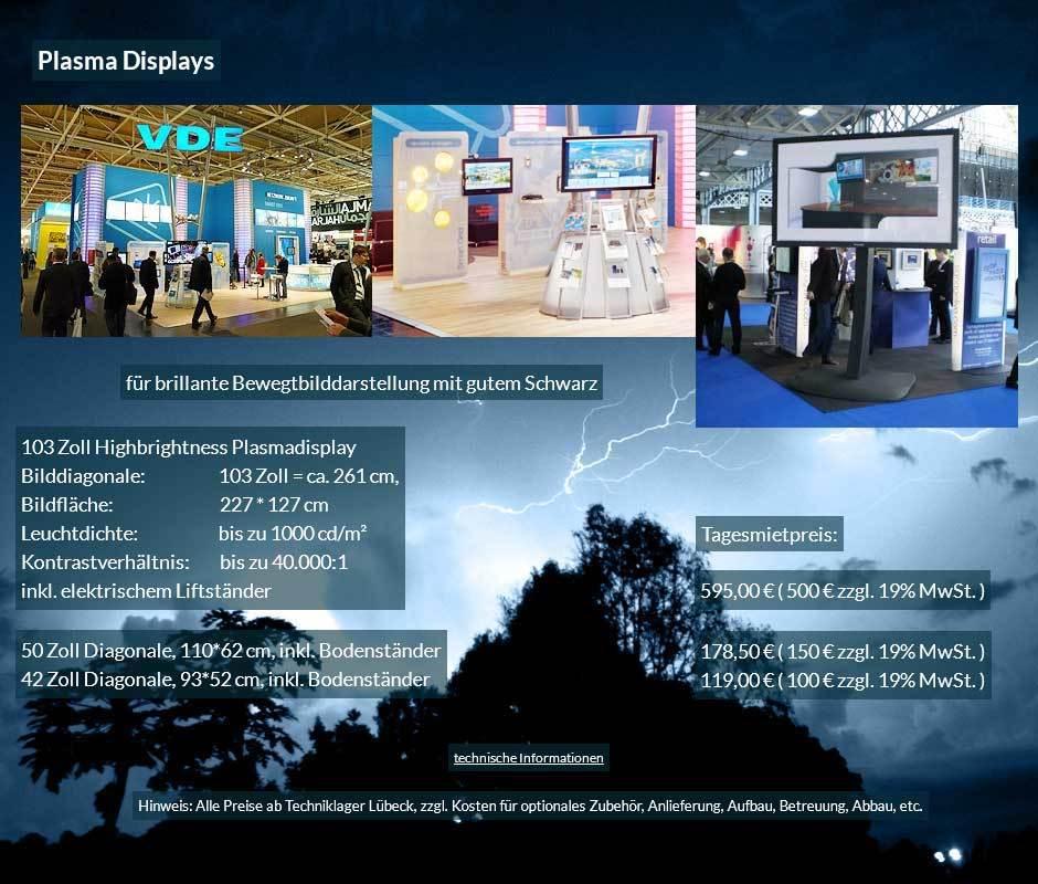 ;ietangebot für Plasma Display- Plasma Bildschirme von 42 bis 103 Zoll mit Tagesmietpreisen ab 100 € netto