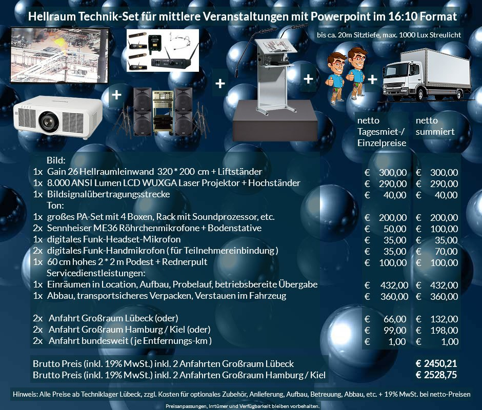 16:10 Veranstaltungstechnik-Mietangebot WUXGA LCD Laser Projektor 6500 ANSI Lumen + 320x200 cm Gain 26 Hellraumleinwand + PA Anlage + Mikrofone + Rednerpult + Podest + Anlieferung Aufbau Übergabe Abbau Rücktransport