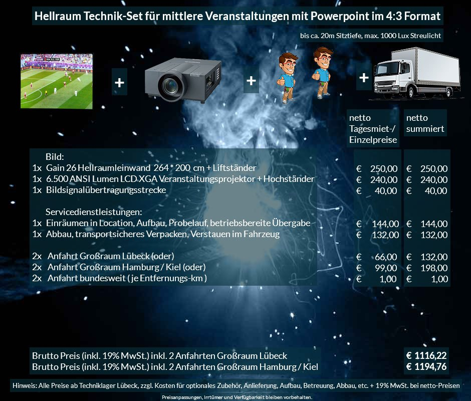 4:3 Veranstaltungstechnik-Mietangebot XGA Projektor 65000 ANSI Lumen + 264x200cm Gain 26 Hellraumleinwand + Anlieferung Aufbau Übergabe Abbau Rücktransport